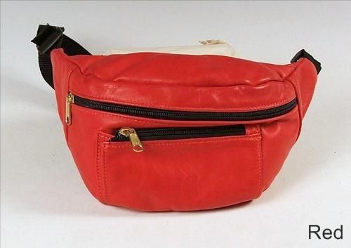 Custom Made Red Leather Hip Bag