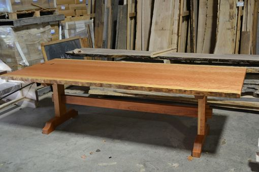 Custom Made Live Edge Dining Table - Bookmatched, Curly Cherry Top With Trestle Base