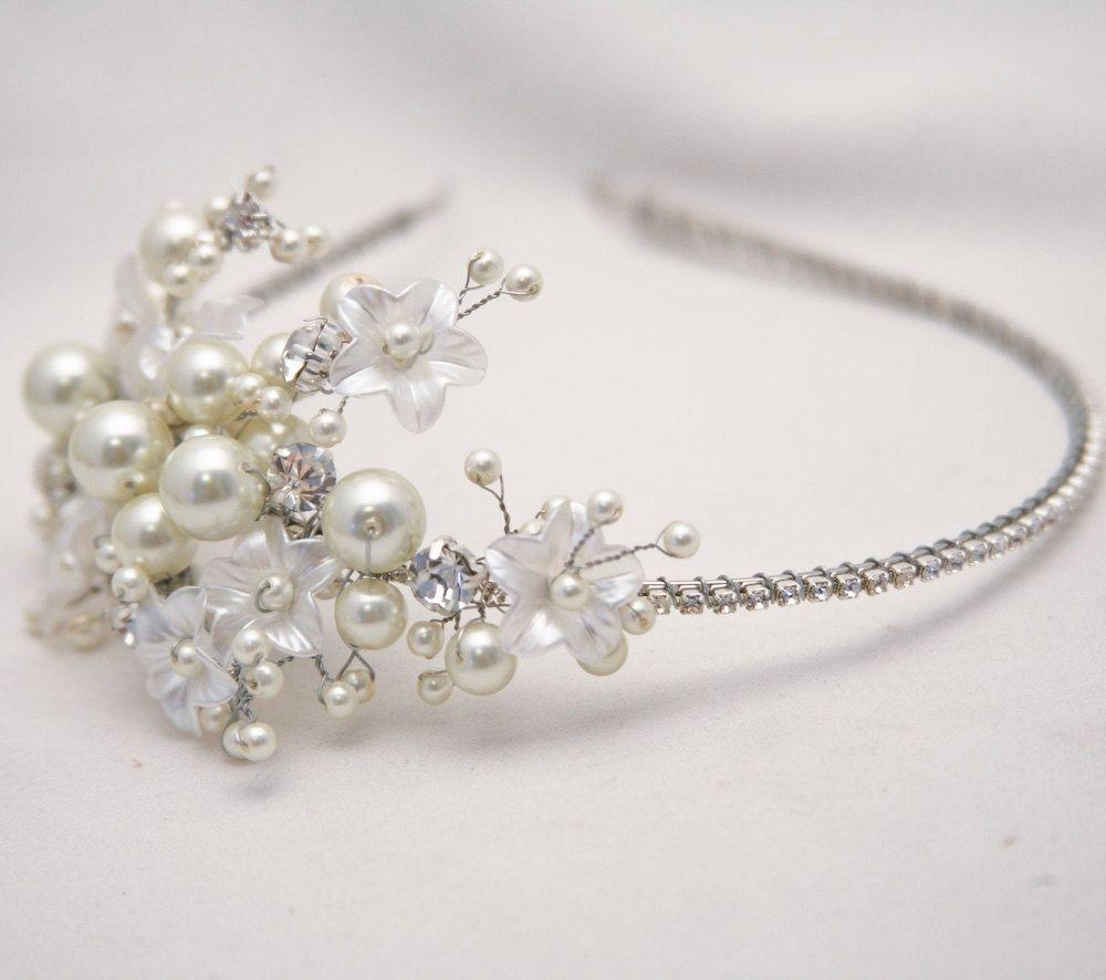 Wedding accessories pearls flowers pearls - Custom Made Rhinestone Tiara With Flowers And Ivory Pearls Wedding Tiara Bridal Hair Accessory