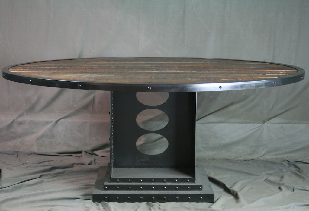 Buy A Hand Made Vintage Industrial Dining Table Round Reclaimed - Round wood conference table