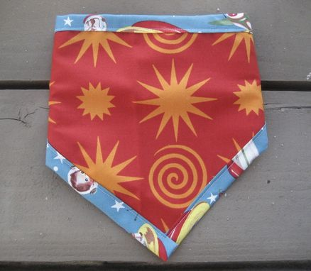 Custom Made Retro Rocket Bandana Bib, Reversible Bibdana For Baby