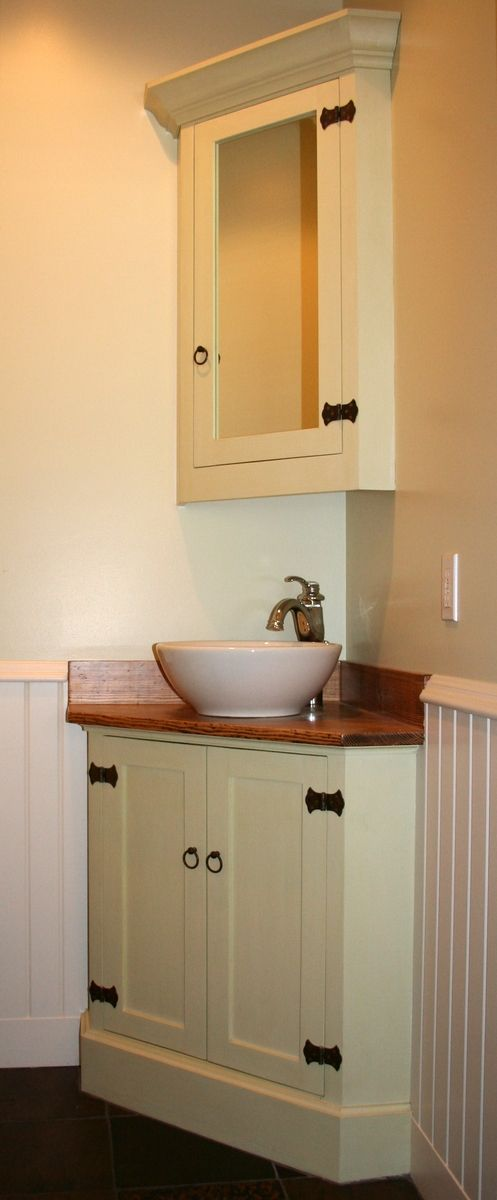 Custom Made Angled Corner Bath Vanity By Blackdog Cabinetry - Baseboard around bathroom vanity