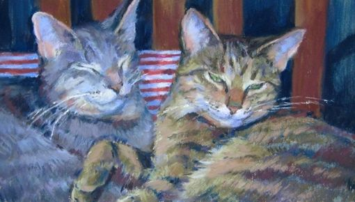 Custom Made Pet Portrait Of Cats On A Couch Painted In Pastel, 6 X 10 Inches