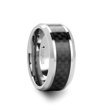 Custom Made Indianapolis Black Carbon Fiber Inlay Tungsten Carbide Ring - 10mm