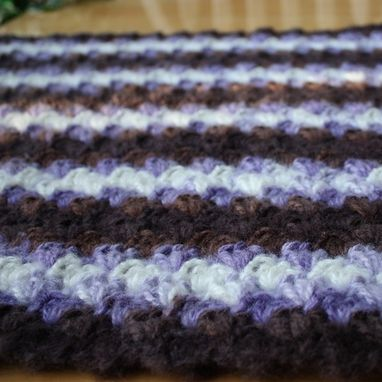 Custom Made Crochet Baby Blanket Purple Brown White Warm Shell