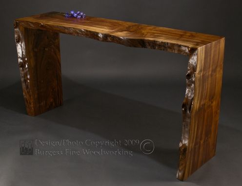 Custom Made Poured Walnut Sofa Table