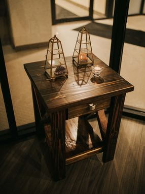 Custom Made Rustic X-Frame Side Table Night Stand