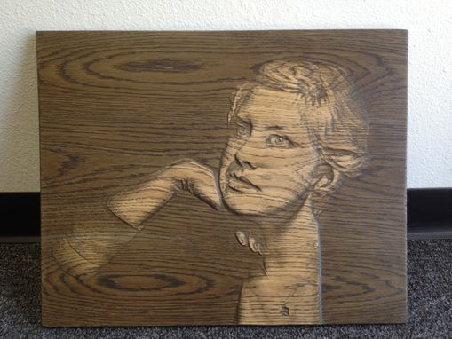 Custom Made Carved Wood Portrait