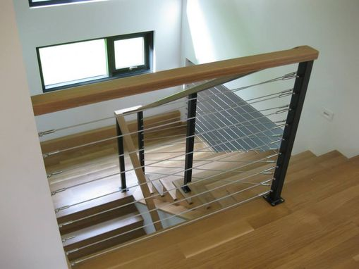 Custom Made Stainless Cable & Oak Railing