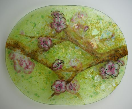 Custom Made Crossing Branches- Cherry - Glass Fused Artwork