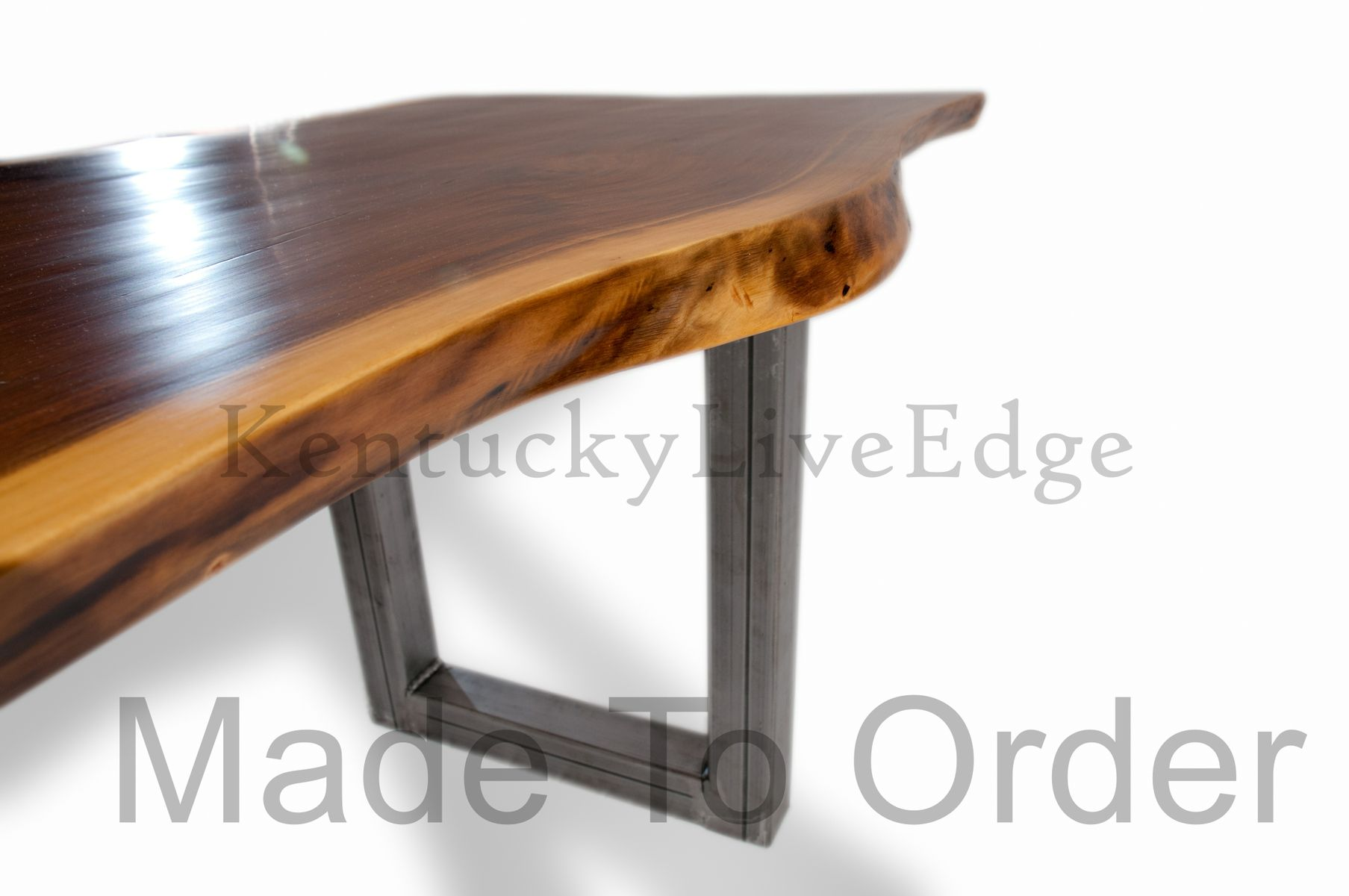 Custom Live Edge Dining Table Walnut Steel Bases By