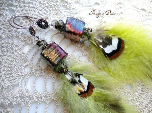 Custom Made Lime Green Feathers With Raku Pottery Earrings And Bronze Wire Accoutrements