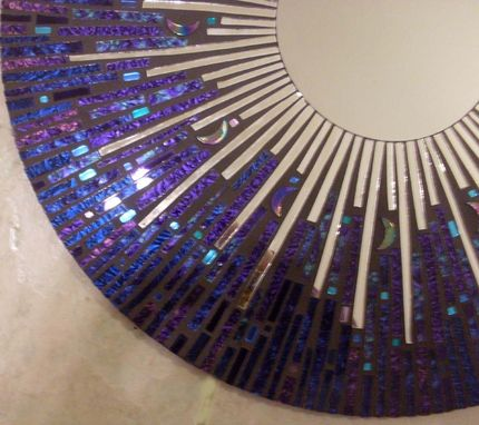 "Custom Made 24"" Celestial Mosaic Stained Glass Mirror"