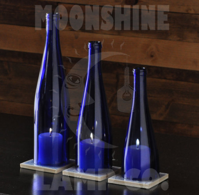 Custom Made Blue Glass Bottle Candle Lamp Table Centerpiece