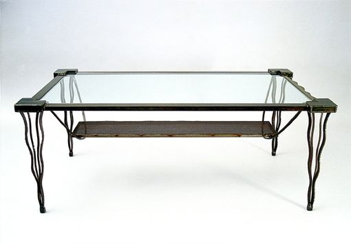 Custom Made Coffee Table_Contemporary Steel Metal And Glass Rectangle - Eclectic Sculptural Furniture, Accent Tables For Living Room