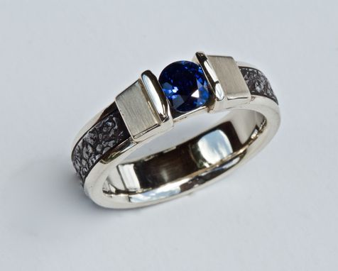Custom Made Corn Blue Sapphire Ladies Ring, 14kt White Gold, Forged Stainless Steel, Size 7