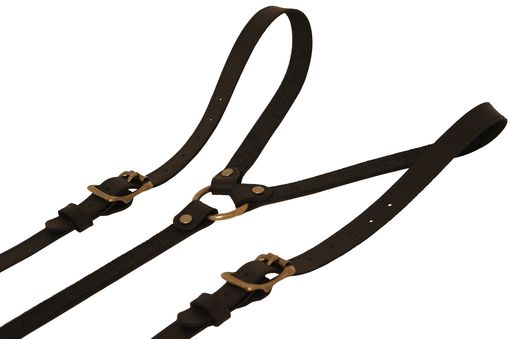 Custom Made Black Leather Suspenders