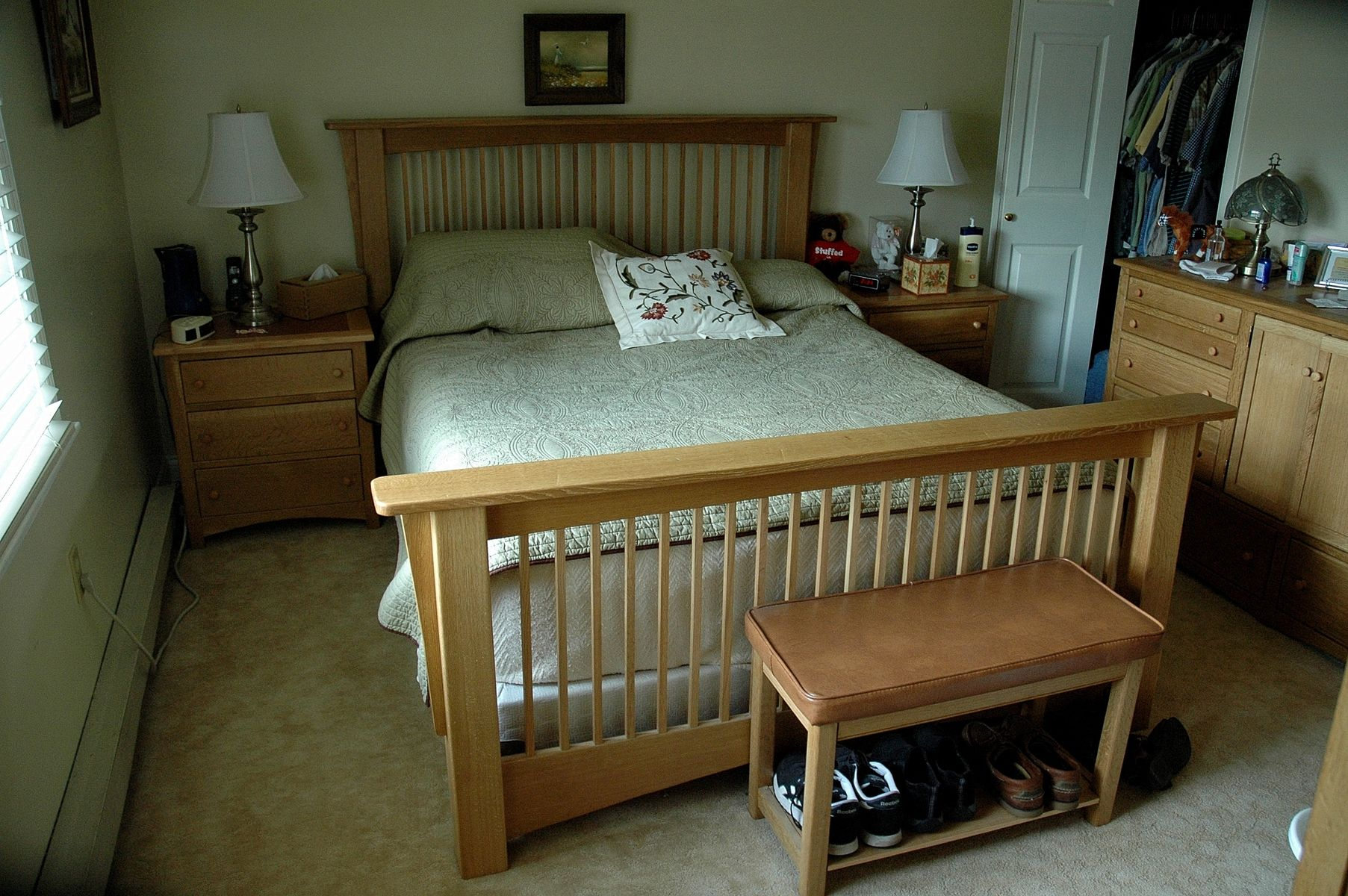 Hand made quartersawn oak mission bed frame by wooden it for Custom made bed frame