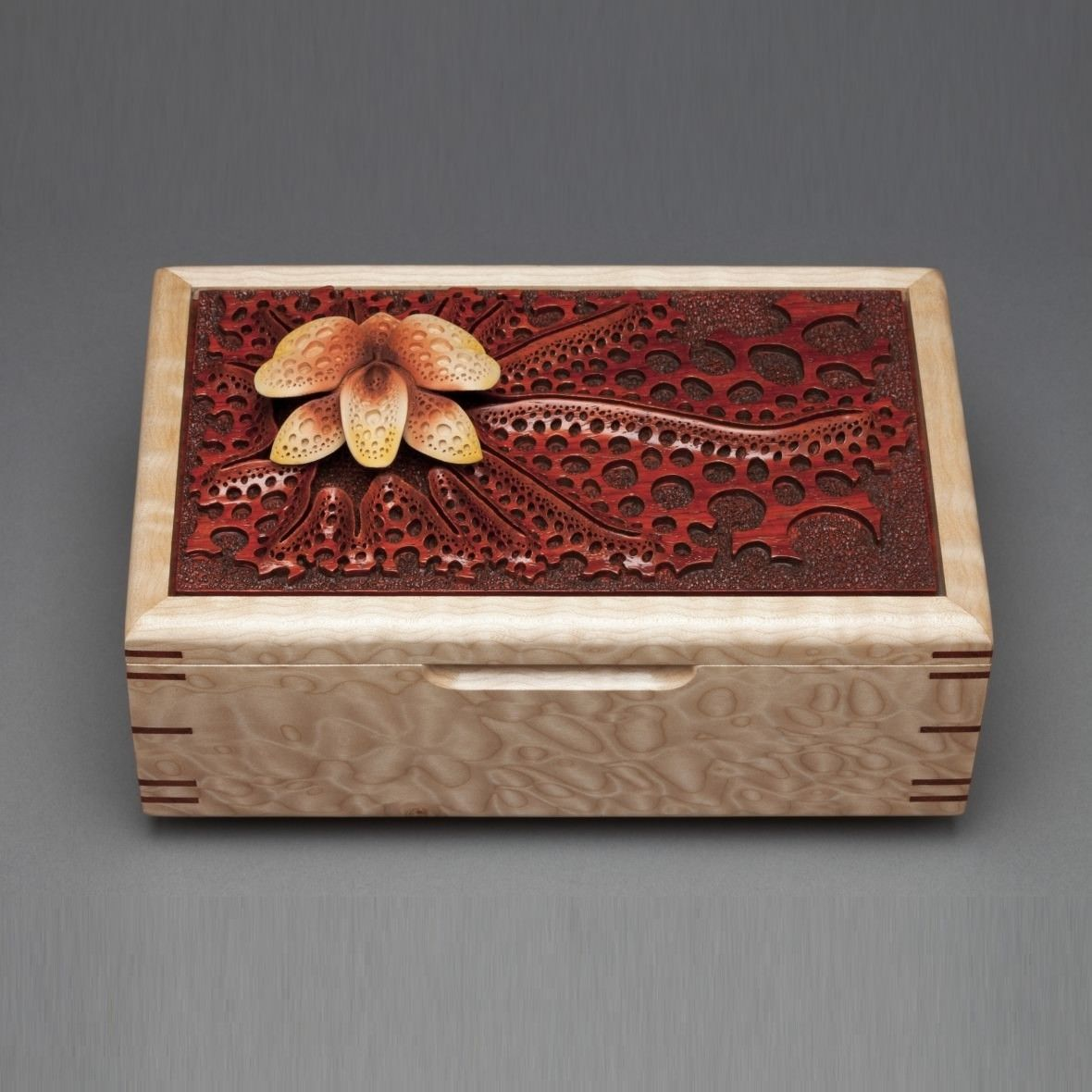 Custom made wood jewelry box orchid by mark doolittle for Jewelry box made of wood