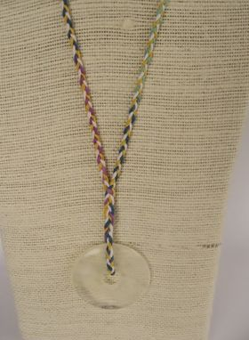 Custom Made Boho Chic Necklace. Handbraided With Rainbow Colors Hemp. Circle Of Life Pendant. One Of A Kind.