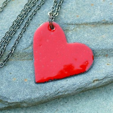 Custom Made Enamel Heart Pendant Necklace Copper Enameled Jewelry Red