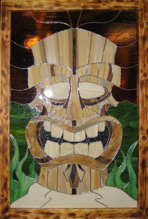 Custom Made Island Tiki Stained Glass By The Glass Kats