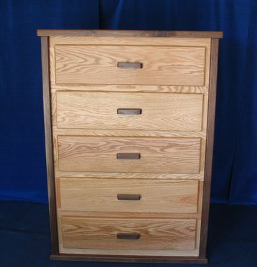 Custom Made Red Oak With Walnut Trim Chest Of Drawers