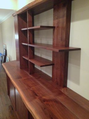 Custom Made Natural Edge Walnut Display And Storage Cabinet