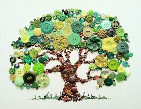 Custom Made Tree Of Life Button Art With Swarovski Rhinestones Button Oak Tree