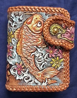 Custom Made Koi Hand Tooled, Hand Carved Leather Billfold Wallet . Double Loop Lacing.
