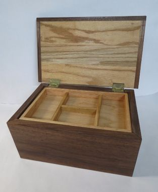 Custom Made Wooden Box From Walnut And Oak With Internal Tray