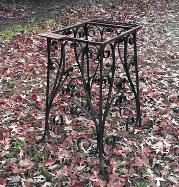 Custom Made Hand Forged Wrought Iron Scrollwork Table
