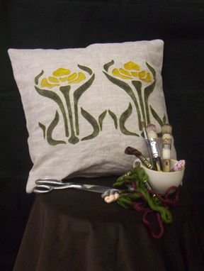 Custom Made Double Iris Pillow, Gold