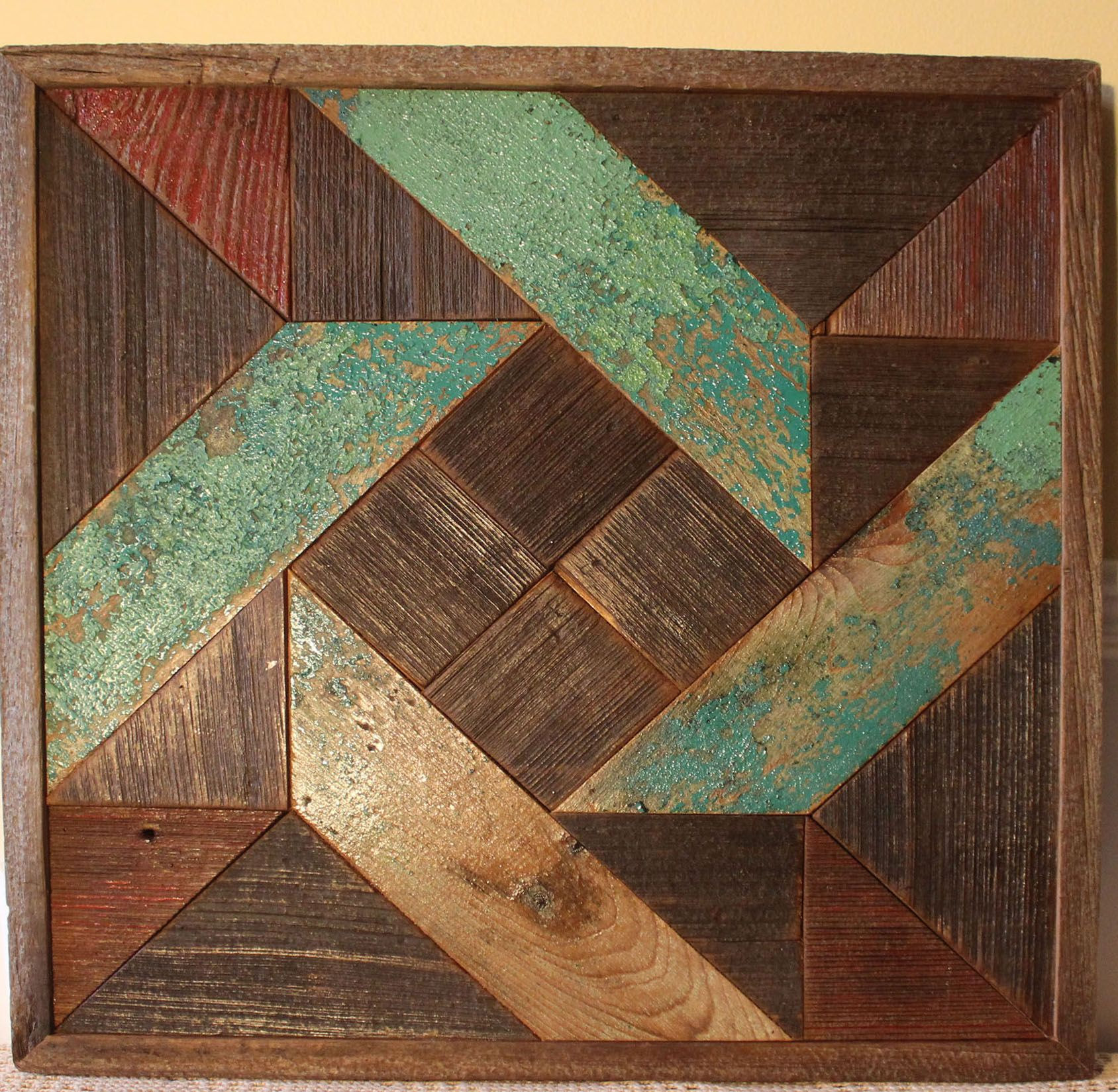 Hand Crafted Pinwheel Quilt Reclaimed Wood Rustic Wall Art By