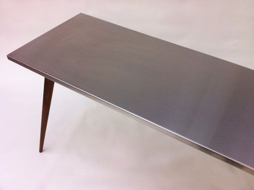 Custom Made Contemporary Modern Piece – Stainless Steel Activity Table/ Play Table With Walnut Tapered Legs