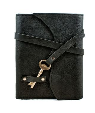 Custom Made Nottinghill Refillable Leather Journal With Antique Key – Black