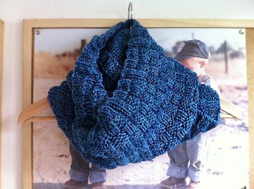 Custom Made Hand Knitted Basketweave Cowl
