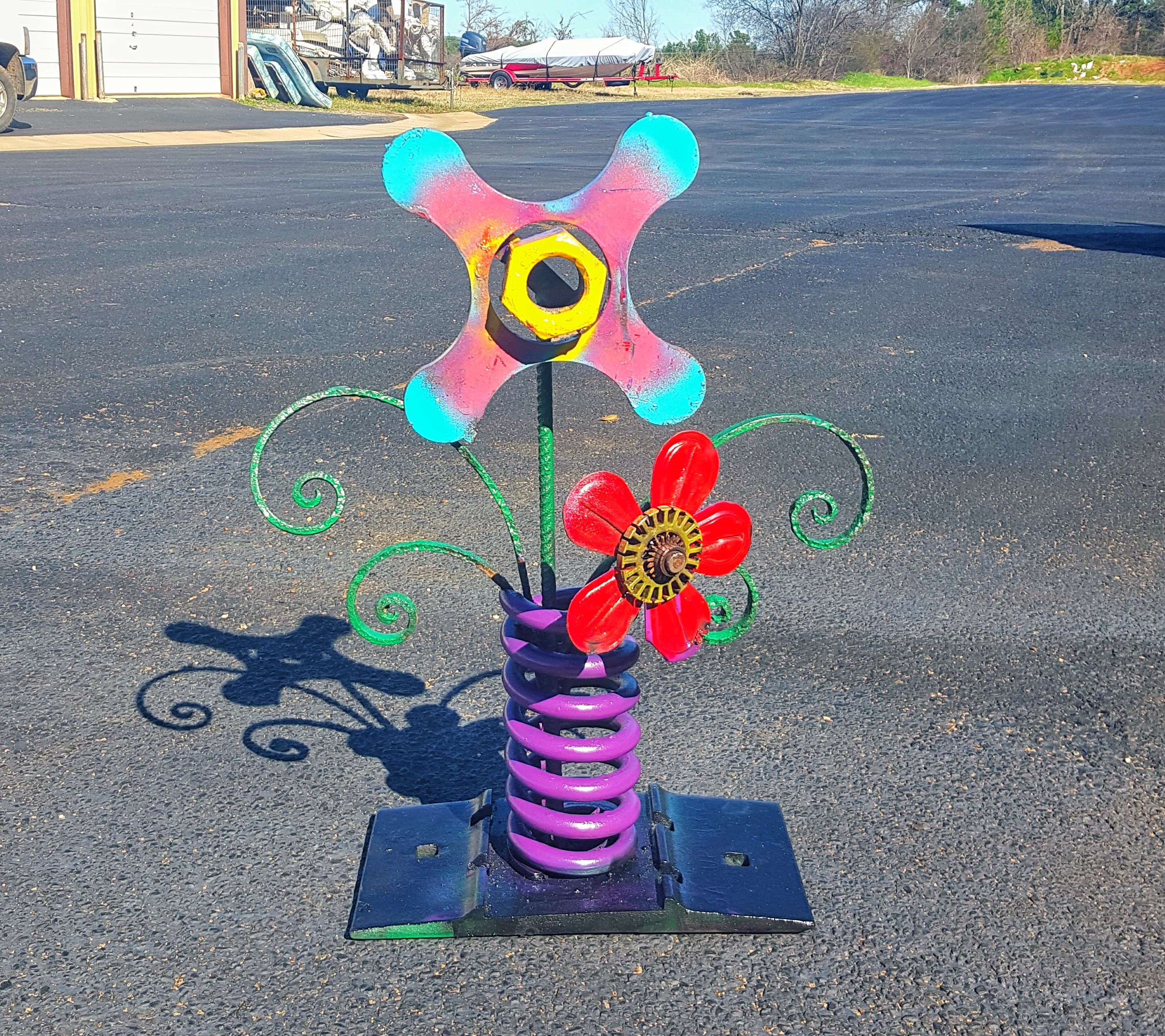 buy a custom metal outdoor sculpture scrap metal flower garden