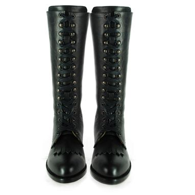 Custom Made Kerouac Black Leather Round Toe Tall Biker Fringe Combat Boots (All Sizes)