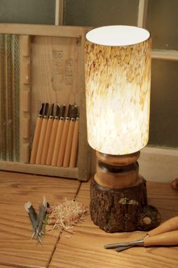 Custom Made Walnut With Bark On And River Rock Columnar Glass Shade