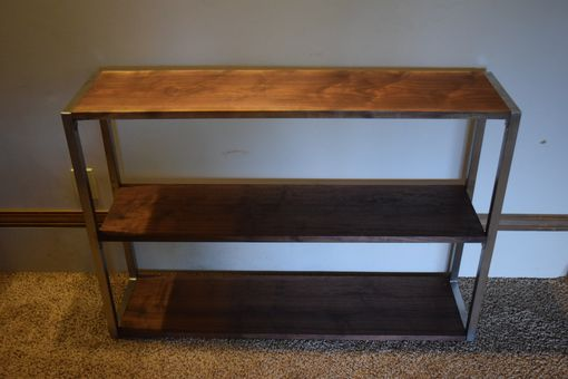 Custom Made Walnut And Stainless Steel Shelf