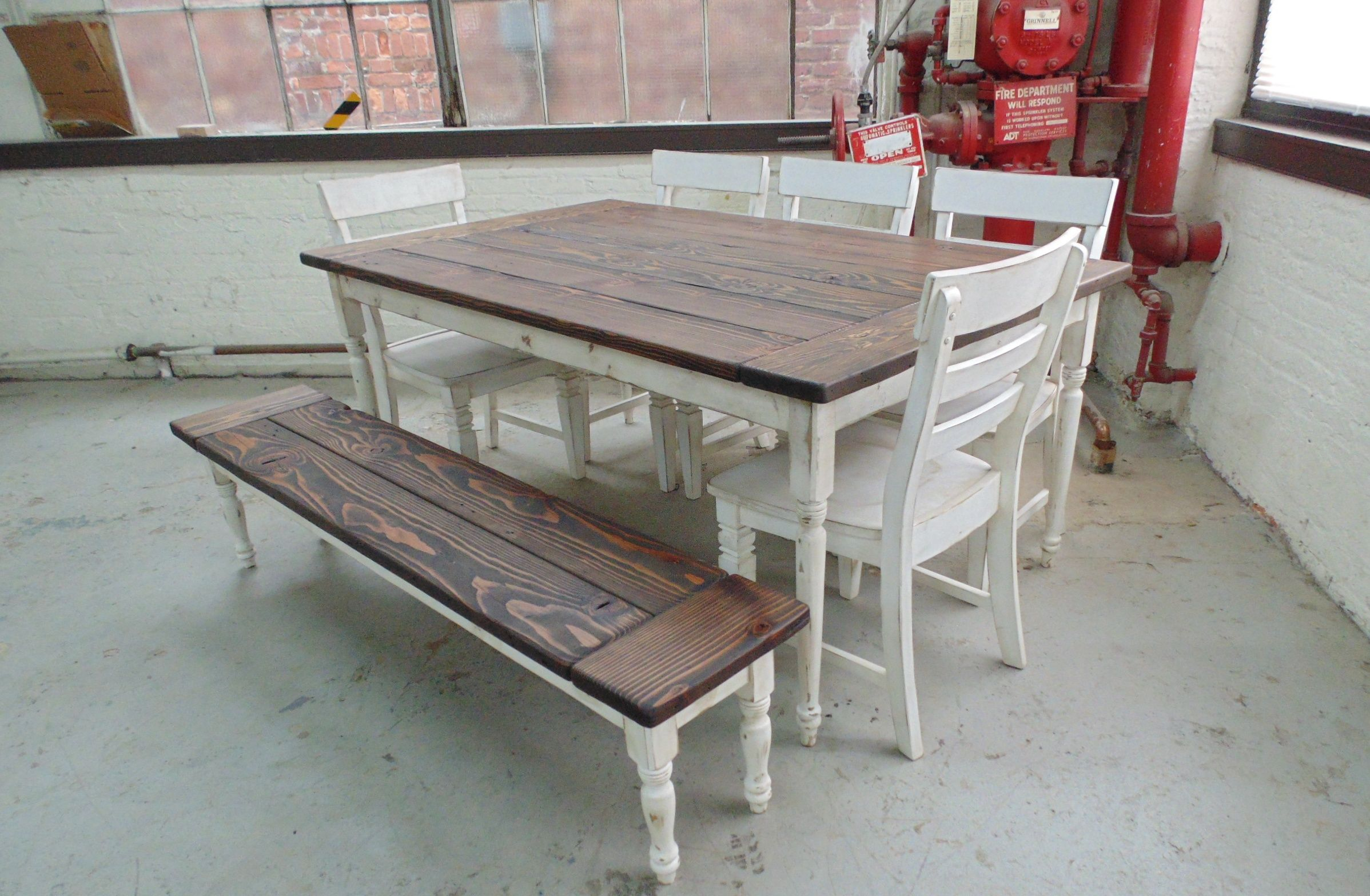 Custom Made Reclaimed Wood Farmhouse Table With Beautiful Turned Legs. Hand Crafted Reclaimed Wood Farmhouse Table With Beautiful Turned