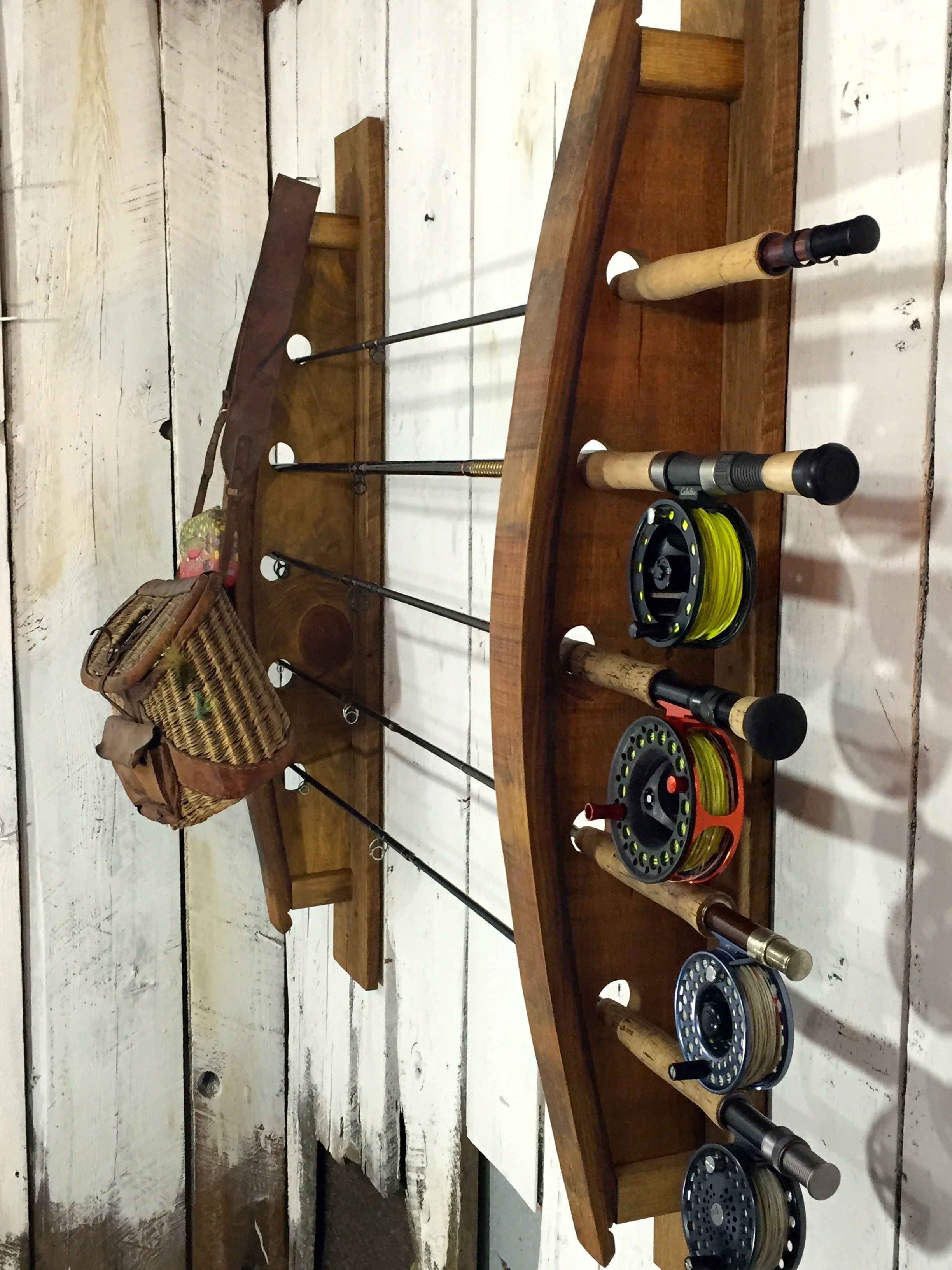 Custom Made Great Lakes Fly Fishing Rack Napa Valley Wine Barrel Staves Reclaimed Wood