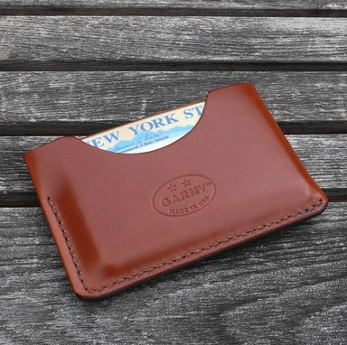 Custom Made Garny - №3  Card Case - Minimalist Leather Wallet - Chestnut Brown