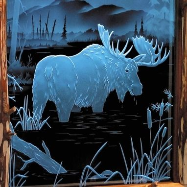 Custom Made Illuminated Carved / Etched Glass - Moose Door