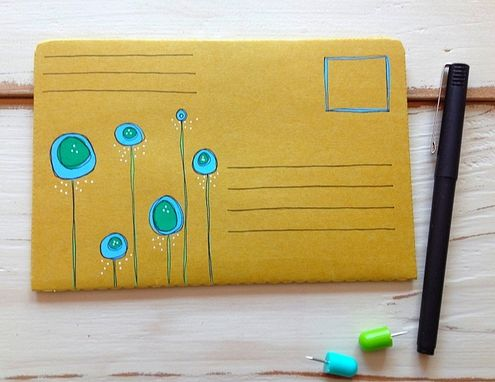 Custom Made Abstract Flower Hand Illustrated Postal Notebook