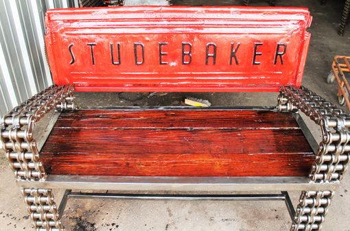 Custom Made Truck Tailgate Garden Bench / Garden Benches / Outdoor Furniture / ?Recycled Art / Red