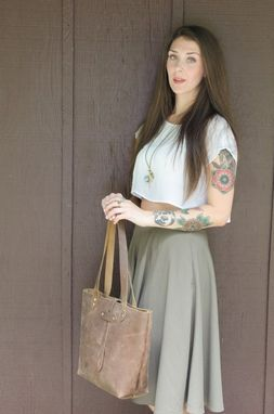 Custom Made Distressed Brown Leather Tote Handbag