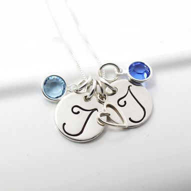 Custom Made Two Initial Mother Necklace With Birthstones And Heart Charm