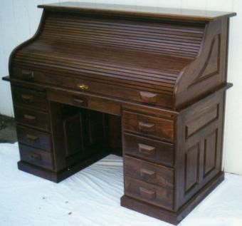 Custom Made Walnut Roll Top Desk, Amish Style, County Classic